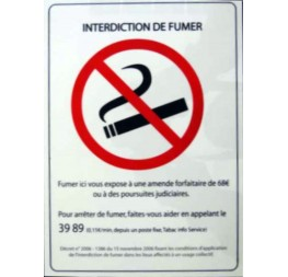 plaque interdiction de fumer