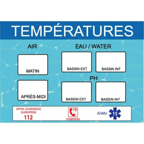 Panneau température piscine